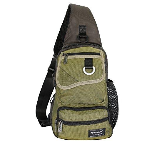 Vanlison Schling-Tasche, Brust-Schulter-Rucksack , Umhängetasche, Mehrzweck-Tages-Rucksack für Männer, Frauen L armee-grün