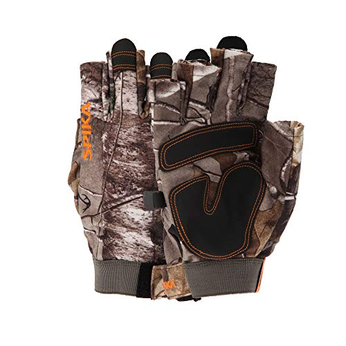 SPIKA Camouflage Hunting Fingerless Gloves,Military Tactical Half Finger Glove for Hunting Driving Padding Climbing L-XL