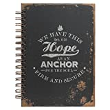 """Christian Art Gifts Large Hardcover Notebook/Journal   Hope As An Anchor – Hebrews 6:19 Bible Verse   Vintage Inspirational Wire Bound Spiral Notebook w/192 Lined Pages, 6"""" x 8.25"""""""