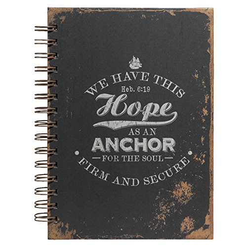 "Christian Art Gifts Large Hardcover Notebook/Journal | Hope As An Anchor – Hebrews 6:19 Bible Verse | Vintage Inspirational Wire Bound Spiral Notebook w/192 Lined Pages, 6"" x 8.25"""