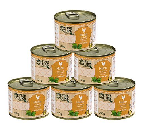 Dehner Fine Nature Katzenfutter Adult, Lebensmittelqualität, Huhn, 6 x 200 g (1.2 kg)