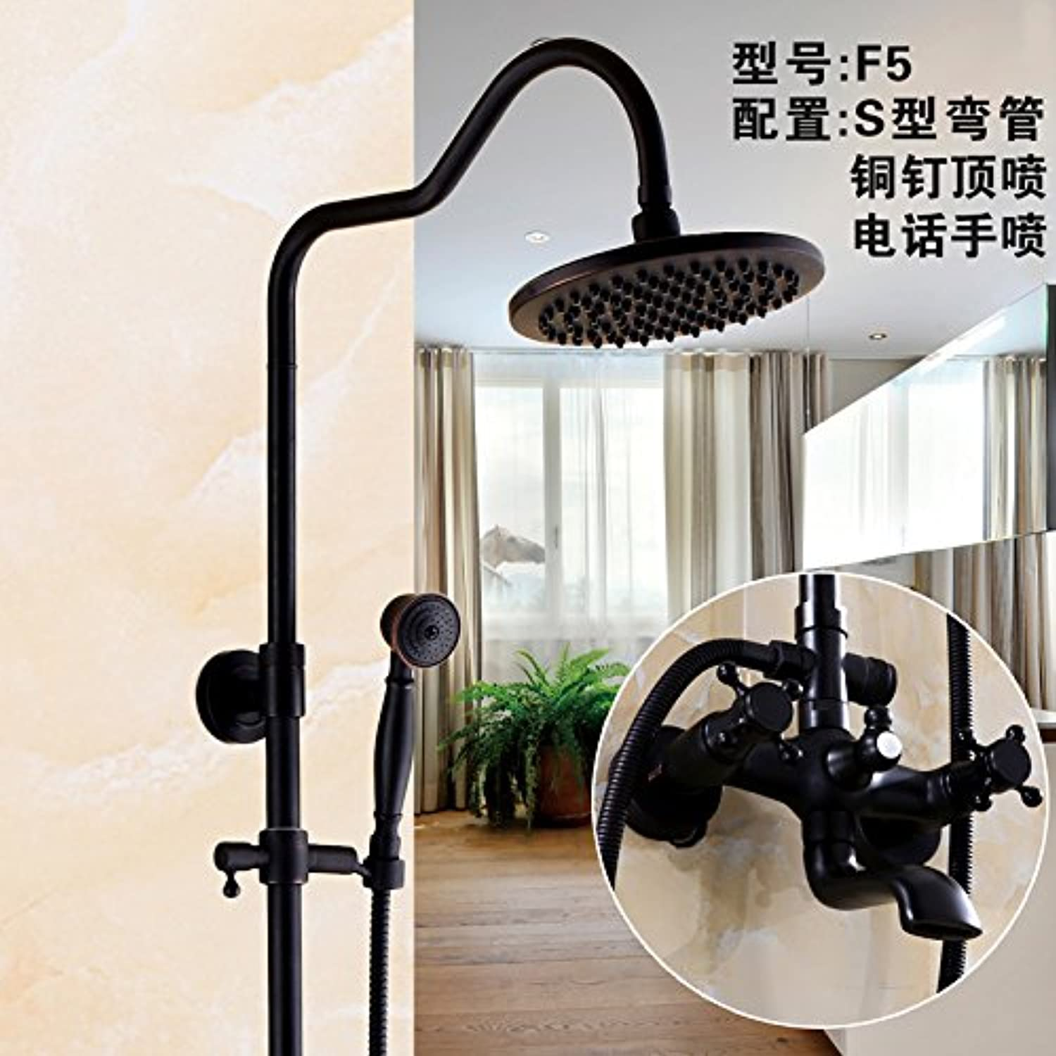 Hlluya Professional Sink Mixer Tap Kitchen Faucet The pressurization full copper bathroom black shower faucet set antique shower faucet can lift redary,F5