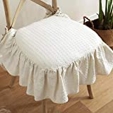 WAYERTY Ruffled Dining Chair Cushions,100% Cotton Chair Pads Breathable Overstuffed with Ties Removable Cushion Farmhouse Seat Cushion-Beige 43x45cm(17x18inch)