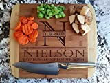 Personalized Wood Cutting Boards (Nielson Design) - Perfect Gifts For Weddings, Bridal Showers, and Housewarmings - (11 x 14 Two Tone Bamboo with Curved Edges, Nielson Design)