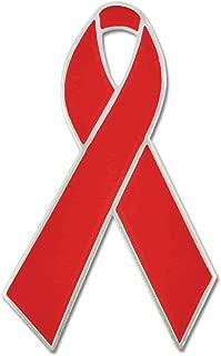 PinMart Red Awareness Heart Disease Ribbon Enamel Lapel Pin
