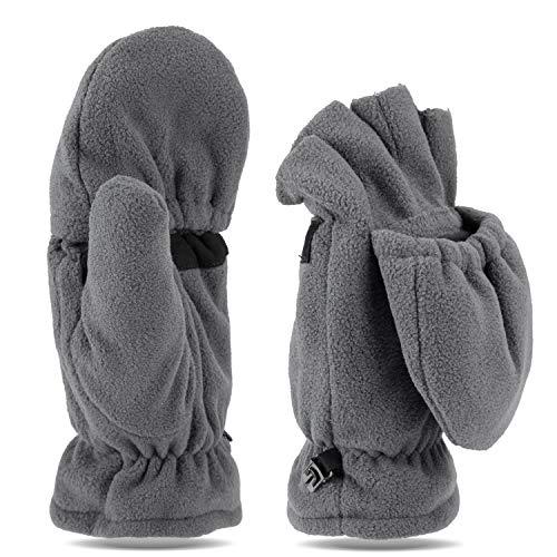 Tarjane Fleece Winterhandschuhe | Fäustlinge | Damen und Herren Fausthandschuhe | Fingerhandschuhe (S/M, Grau)