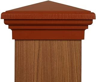 6x6 Post Cap - (Nominal) Cedar Color Pyramid Top - with 10 Year Warranty