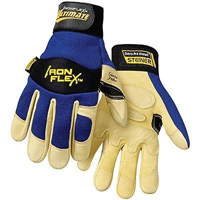 Steiner Ironflex Work Gloves, Ultimate Grain Goatskin Blue Spandex