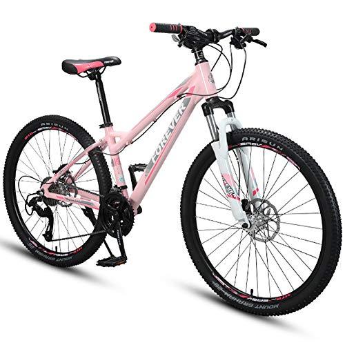 Bicicletta MTB 26 Pollici 30 velocità per Mountain Bike per Adulti, Telaio in Alluminio con Forcella Ammortizzata/Doppio Freno a Disco, Bici da Montagna, Rosa