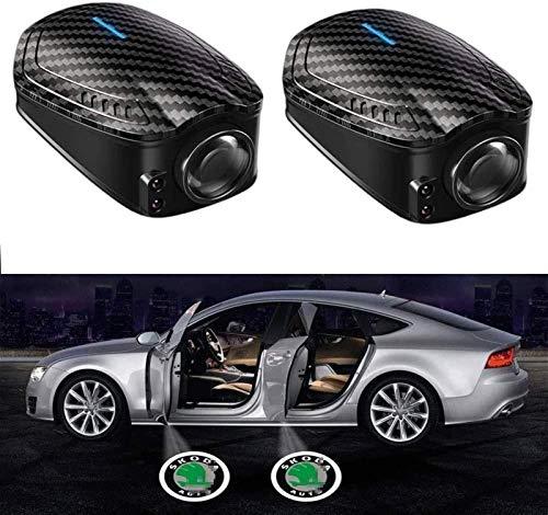 2 unids coche con fibra de carbono LED logo Proyector Light Coche Puerta Paso Cortesía Bienvenido Luz Puddle Ghost Sombra Sensor inteligente (Color : For S-K-D)