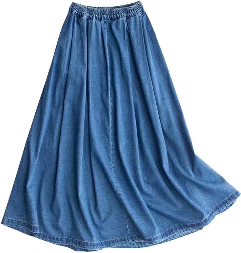 IDEALSANXUN Women's Aline Elastic Waist Maxi Swing Pleated Flared Midi Denim Jeans Skirts