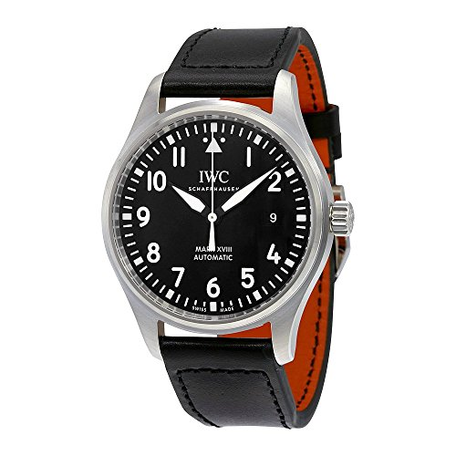 IWC MEN'S 40MM BLACK LEATHER BAND STEEL CASE AUTOMATIC ANALOG WATCH IW327001
