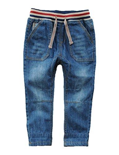 Echinodon Kinder Jeans Hose Jungen Leicht/Weich/Atmungsaktiv 100% Baumwolle Jeanshose 120