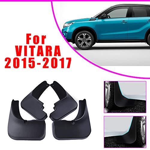 Cobear Auto Schmutzfänger Kotflügel passt für S UZUKI Vitara 2015-2017 Vorne Hinten Gummi-Spritzschutz Car Styling & Karosserie-Anbauteile Schwarz 4 Stück