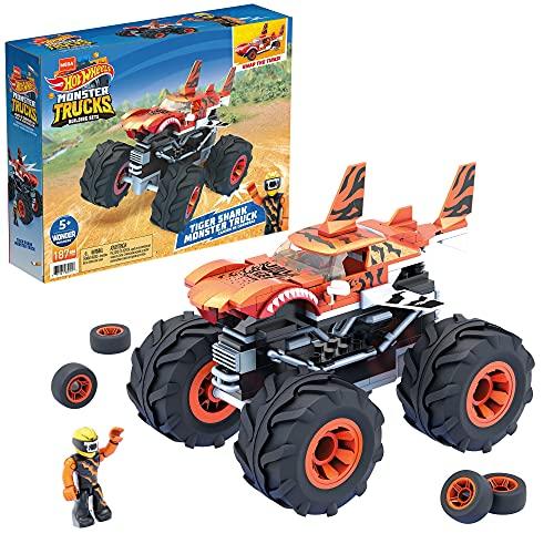 Mega Construx Hot Wheels Tiger Shark Monster Truck Construction Set, Building Toys for Kids
