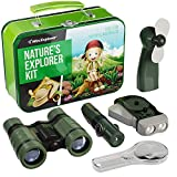 Kids Camping Accessories Nature Play Toy Gift for Boys Outdoor Childrens Games. Birthday Gifts Toys 4 5 6 7 8 Year Old Boy Imaginative Hunting Stuff. Binoculars Fan Magnifier Flashlights 5-in-1 Tool