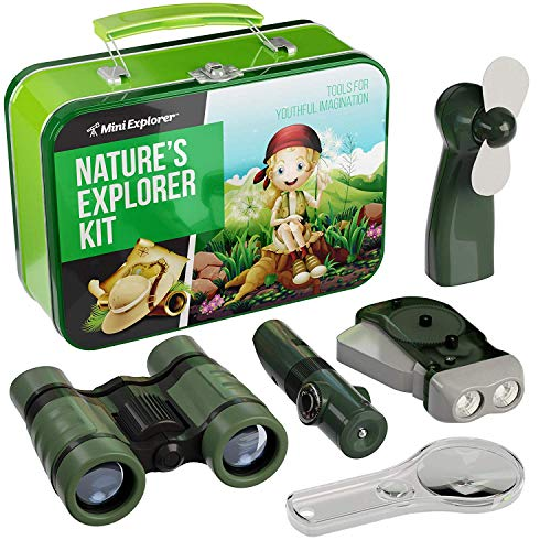 Nature Explorer Kit for Kids - Camping Gear & Accessories Play Toy Gift for Boys Outdoor Childrens Games. Birthday Gifts Toys 4 5 6 7 8 Year Old Boy. Binoculars Fan Magnifier Flashlights 5-in-1 Tool
