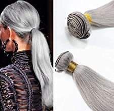 Romantic Angels 12''~28'' Remy Human Hair Extension Straight Hair Weave 1 Bundle 100g Color:gray (14'')