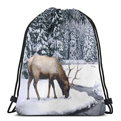 Nicokee Tasche mit Kordelzug Animal World Wildlife The Elk Herds In The Elch Sport Gym Sackpack Rucksack Tasche für Wandern Yoga Gym Schwimmen Reisen Strand
