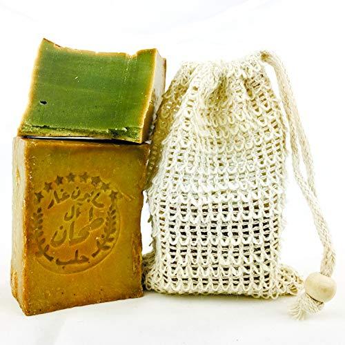 Aleppo Seife ca. 200 gr. 90% Olivenöl, 10% Lorbeeröl + Sisal Seifensäckchen - Handmade und Vegan | Naturkosmetik | Haarseife, Rasierseife, Naturseife | unreine Haut