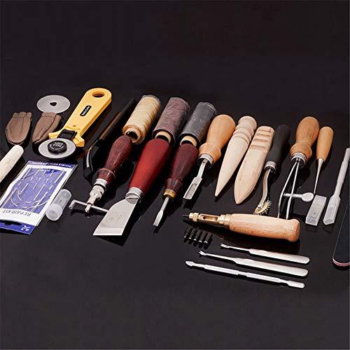Joyeee 25 pcs Herramientas de Costura de Cuero Craft Herramientas Kit para Coser a Mano Costura Juego de Estampado Talla Sillín de Cuero Obra de Arte Accesorios Herramienta de Bricolaje