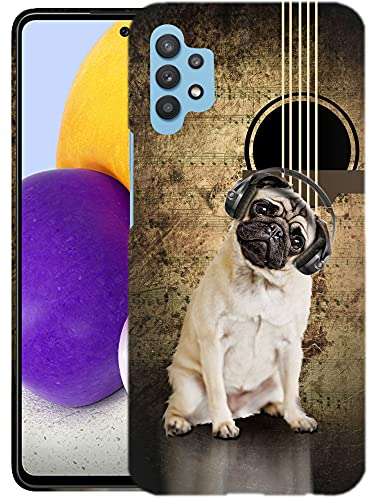 Glisten Samsung Galaxy A32 5G Case -Musical Pug Dog Design Printed Slim Profile Cute Plastic Hard Snap on Protective Designer Back Case/Cover for Galaxy A32 5G Case (2021) [Not for 4G]