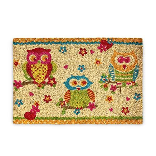 Relaxdays – Felpudo Colorido con diseño de búhos para la Entrada de su hogar Hecho de Fibras de Coco y PVC con Medidas 40 x 60 cm Antideslizante Elemento Decorativo, Color Natural