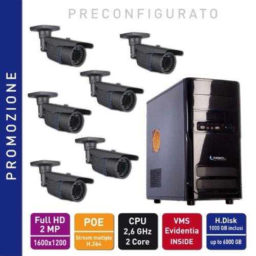 Jenimex Kit Videosorveglianza IP Ful HD 2 MP POE (non hanno bisogno di alimentazione) :NVR + 6 Telecamere IP FullHD 2MP 1600x1200; inclusi nel prezzo preconfigurazione e supporto tecnico del produttore per 12 mesi