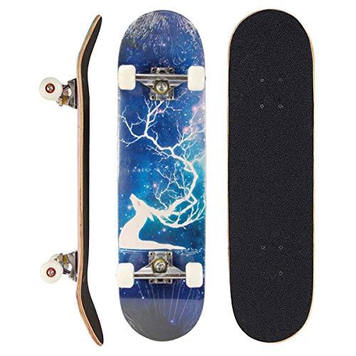 Sumeber - Tabla de skateboard para adultos, para principiantes, cumpleaños, monopatín, para adolescentes, niñas, niños y adultos, Alce de fantasía