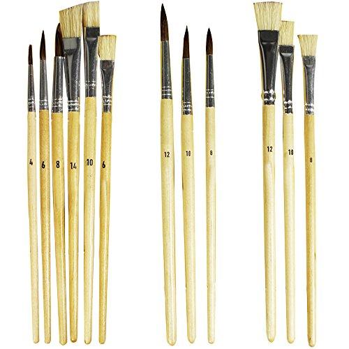 com-four® 12x Künstlerpinsel - Schulzubehör-Set mit Fachpinsel, Rundpinsel für den Unterreicht Kunst, Aquarell, Acryl und Ölgemälde (12-teiliges Pinselset)