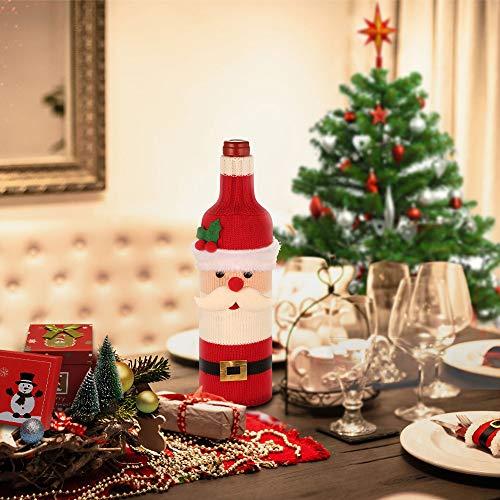 EasyAcc Christmas Wine Bottle Sweater Cover Santa Muñeco de nieve Diseño Vestido de botella de vino Casa de vacaciones Juegos de botellas de vino Regalo de Navidad Año nuevo Decoraciones para fiestas