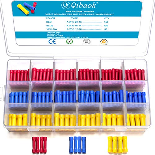 Qibaok 300 PCS Butt Splice Crimp Connectors Insulated Electrical Straight Wire Terminal Connectors 10-22AWG