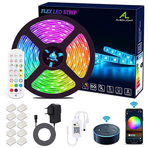 WiFi Tira LED ALED LIGHT tira LED impermeable 5050 5M SMD 300LED Aplicación de teléfono inteligente Control RGB Tira LED inteligente Trabajando con Alexa, Google Decoración del hogar para el hogar