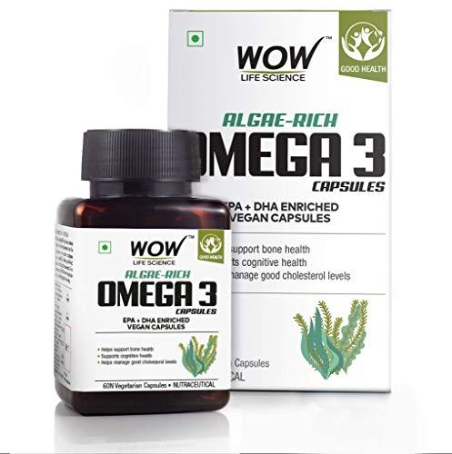 WOW Life Science Algae-Rich Omega 3 Capsules - EPA + DHA Enriched Vegan Capsules - 60 Vegetarian Capsules