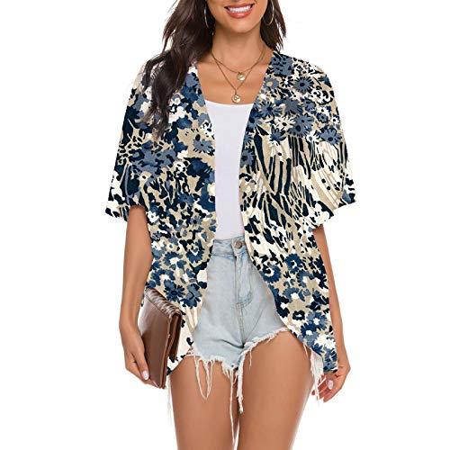 YANFANG Cardigan Blusa Chal Tops Sueltos Mujeres Imprimir Chiffon Beach Outwear,Ropa De SalóN para Damas Ropa Informal Primavera Y Verano,Azul,Rosa,Amarillo,S,M,L,XL,XXL