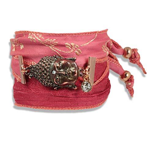 ANISCH DE LA CARA Damen Armband Coral Rouge - Buddha of Wisdom Talismanarmband aus indischen Saris...