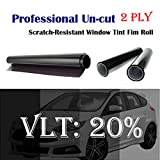 Mkbrother 2PLY 1.8mil Professional Uncut Roll Window Tint Film 20% VLT 30' in x 10' Ft Feet (30 X 120 Inch)