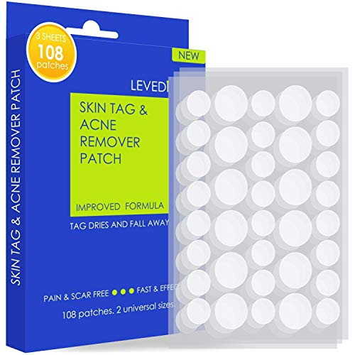 Skin Tag Remover Patches - (108 Pcs) Natural and Fast-Acting Skin Remover Patches - Acne, Wart, Dark Spot and Skin Removal Patches for Face and Body (Blue)