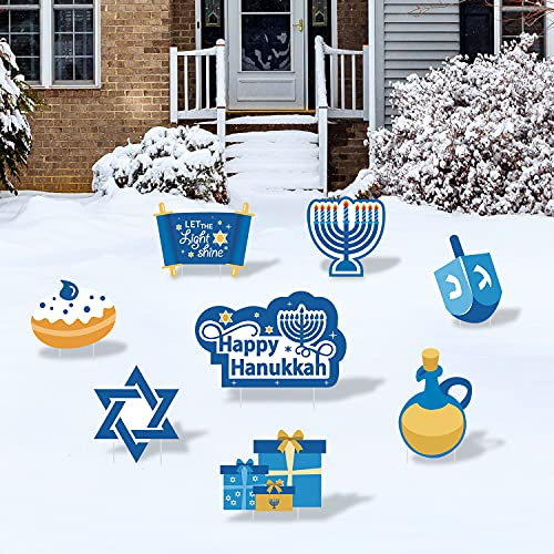 Hanukkah Yard Signs with Stakes Happy Hanukkah Yard Decorations Winter Holiday Outdoor Lawn Decor Menorah Gardens Yard Ornaments Cutouts Chanukah Themed Party Backdrop Signs Supplies Set of 8