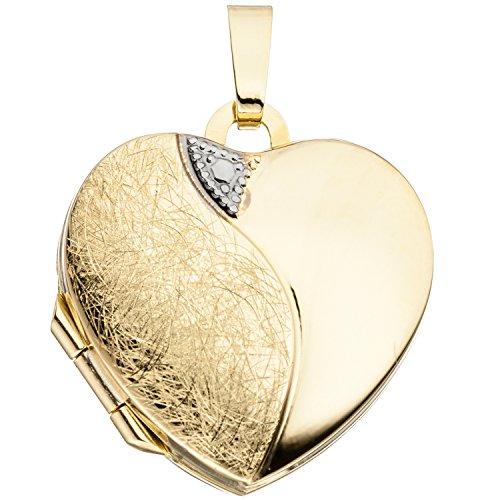 JOBO Damen-Medaillon Herz aus 333 Gold zum Öffnen für 2 Fotos