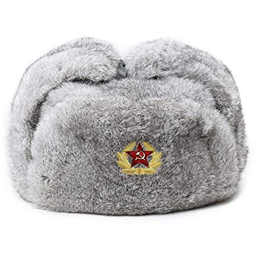 Valpeak chapéu masculino de pele de coelho verdadeiro chapéu russo Ushanka Trooper Trapper chapéus para mulheres inverno ao ar livre (cinza, 3GG)