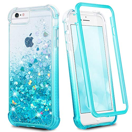 Ruky iPhone 6 6s 7 8 Case, Glitter Clear Full Body Rugged Liquid Cover with Built-in Screen Protector Shockproof Heavy Duty Girls Women Case for iPhone 6 6s 7 8 4.7 inches (Gradient Teal)