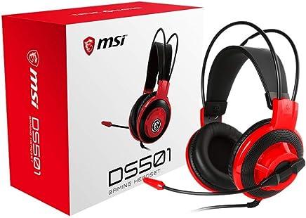 MSI Gaming Auriculares con micrófono, Sonido Envolvente Virtual 7.1, Inteligente Sistema de vibración Mejorada (ds502), Audífonos DS501 para Juegos, Rojo/Negro