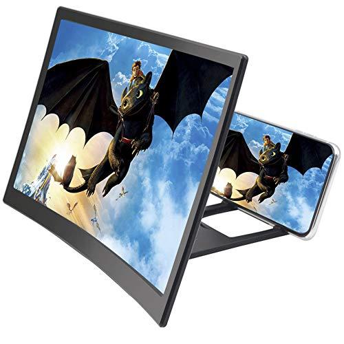Curve Screen Vergrootglas 12'', 3D HD Screen Enlarger Video Movie Versterker Houder Stand voor iPhone Xs/XR/X/8/8 Plus/7/7 Plus/6S, Galaxy S9+/S9/S8/S7, Alle slimme telefoons