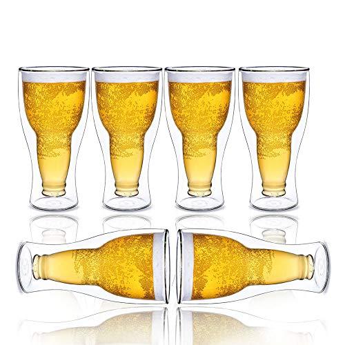 XBSD Jarra de Cerveza de Doble Capa de Vidrio 6PCS - 14 oz, Vasos de barware caseros con Alta Resistencia a Altas temperaturas, para cócteles y Otras Bebidas Calientes y frías