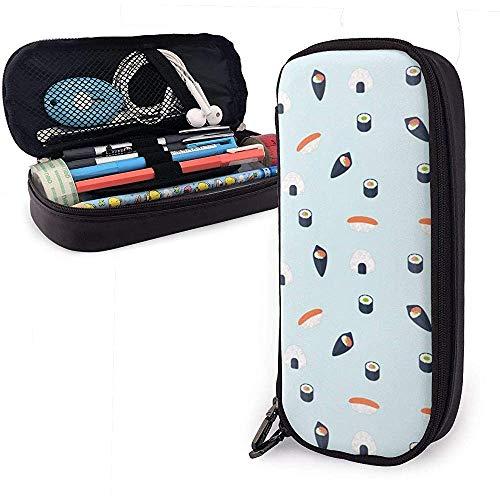 Étui à crayons en cuir PU Kawaii Sushi, sac à stylo de grande capacité, organisateurs de papeterie étudiants durables Double fermeture à glissière 4 cm x 9 cm x 20 cm