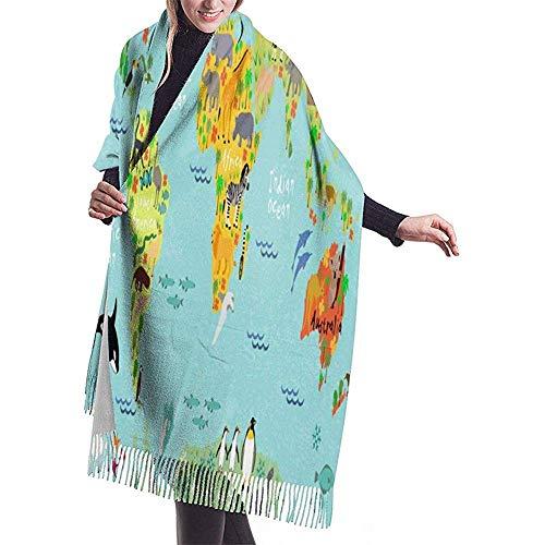 Mapa de animales del mundo Bufanda de mujer Acogedora Bufandas ligeras Con flecos A prueba de viento Bufandas de invierno Chal de cachemira