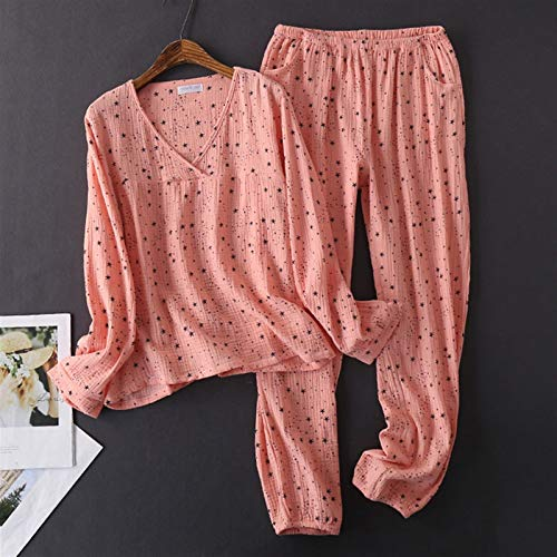 Confortevole cotone donna lavato pigiama texture crepe filato a maniche lunghe pigiama scollo a V caldo casa pigiama n1024 (colore : Rosa, Taglia : M)