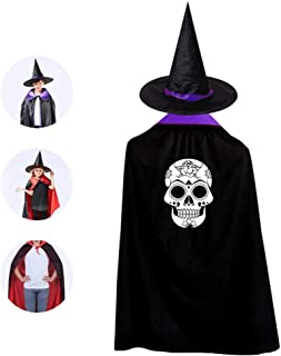 Cranium Skull Costume Party Costume 3D Halloween Cloak for Kids and Witch Hat