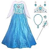 YOSICIL Vestido de Princesa Azul Disfraz de Frozen Elsa con Capa Larga Desmontable Disfraz con Accesorios Anillo Collar Pendiente Costume de Fiesta Vestido de Cumpleaños
